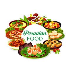 Peruvian fish seafood meat and vegetable food vector