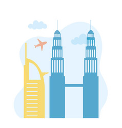 petronas twin towers skyline airplane urban city vector image