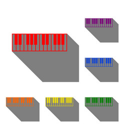 Piano keyboard sign set of red orange yellow vector