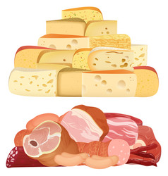 Piles of different realistic delicacy cheeses and vector