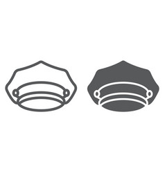 Police hat line and glyph icon police and uniform vector