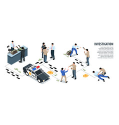 Police investigation isometric infographics vector