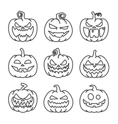 pumpkin with face outline icon set vector image