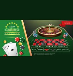 Realistic casino roulette template vector