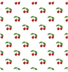 Ripe red cherry berries with pattern vector