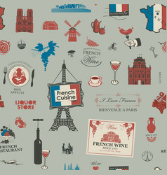 seamless pattern on theme french cuisine vector image