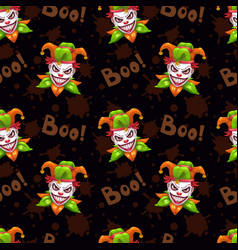 Seamless pattern with scary evil jokers vector