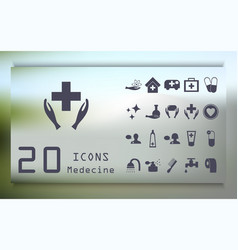 Set medecine and health flat icons collection vector