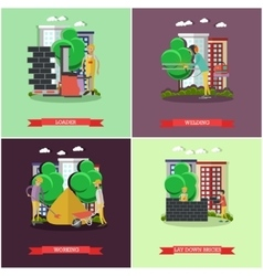 set of construction concept posters vector image