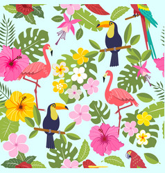Set of tropical flowers of leaves and birds vector