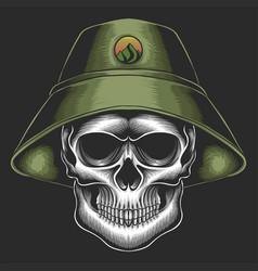 Skull bucket hat vector