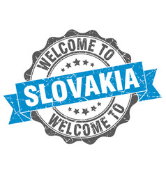 slovakia round ribbon seal vector image