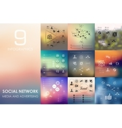 Social network infographic with unfocused vector