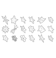 star icon set outline style vector image