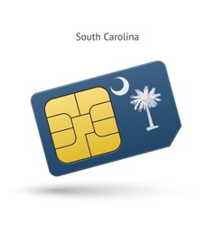 State of South Carolina phone sim card with flag vector
