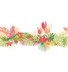 Tropical flower hand drawn header vector