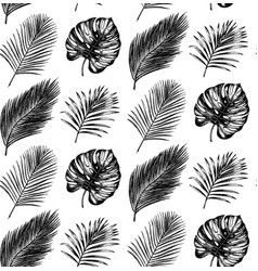 Tropical seamless pattern in exotic palm vector