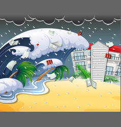 tsunami hitting beach resort vector image
