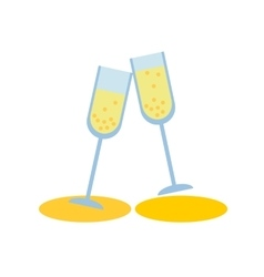 two champagne glass on white background flat vector image