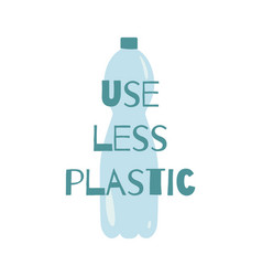 Use less plastic text on plastic bottle vector