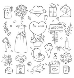 various wedding day symbols hand drawn vector image