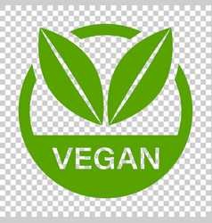 Vegan label badge icon in flat style vegetarian vector