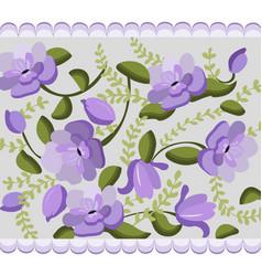 Vintage violet flowers handmade pattern vector