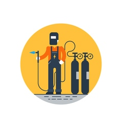 Welder with mask and gas balloons vector