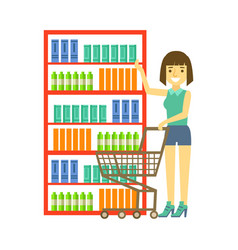 woman shopping at supermarket with cart shopping vector image
