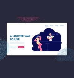 Woman visiting night club website landing page vector