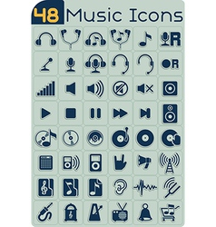 48 Music Icons Set vector image