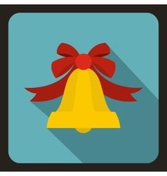 Bell with red bow icon flat style vector image vector image