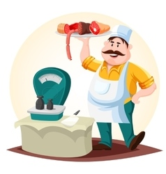 Butcher or meat store worker with sausages vector image