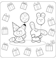 Happy birtday Cute coloring animals vector image vector image
