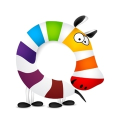 Number zero Made of colorful animal cartoon vector image vector image