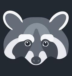 raccoon flat icon vector image vector image