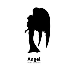 silhouette girl with angel wings praying vector image vector image