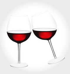 Two glasses of red wine clink vector image vector image