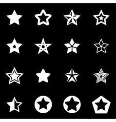 white stars icon set vector image vector image
