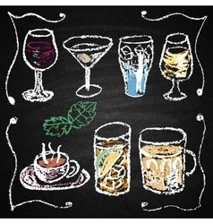 Hand drawn cocktail menu elements vector image
