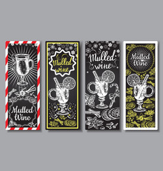 hand drawn mulled wine banners set black vector image vector image
