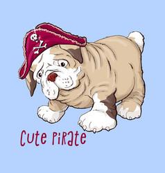 happy cartoon puppy dog portrait of cute little vector image vector image