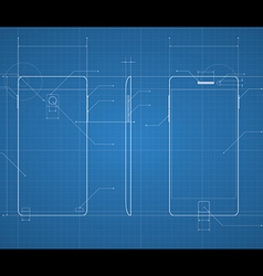 Mobile blueprint vector image vector image