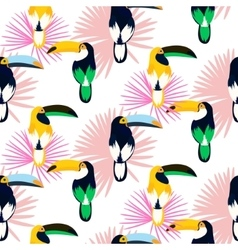 Tropic light pink plant leaves and toucan bird vector image