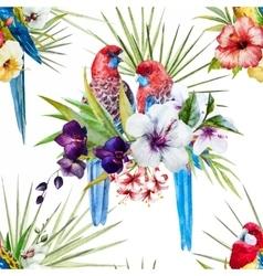 Watercolor rosella bird pattern vector image