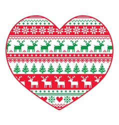 Christmas card - red and green nordic pattern vector image vector image