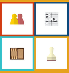 flat icon games set of dice pawn people and vector image