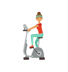 young woman character training on an exercise bike vector image vector image