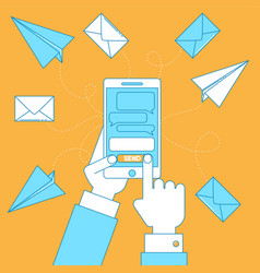 cell phone with messages vector image vector image