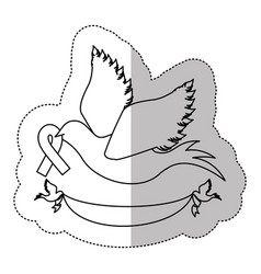 figure dove with breast cancer ribbon in the peak vector image